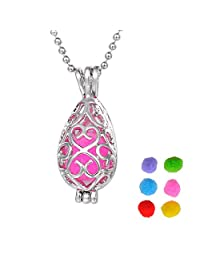 Colours Aromatherapy Essential Oil Diffuser Necklace Pierced Drop Pendant,Silver Tone