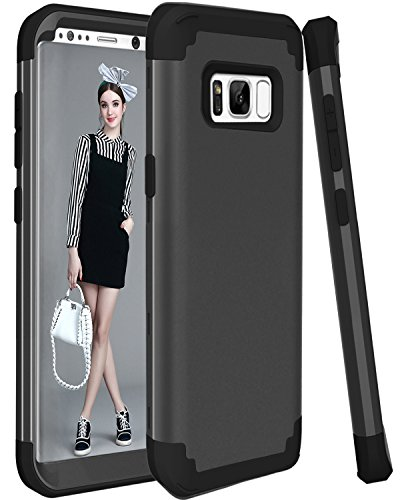 Galaxy S8 Plus Case SAVYOU Dual Layer Defense High Impact Shock Absorbing Hard PC Soft Silicone Hybrid Protective Cover Case for Galaxy S8 Plus Black