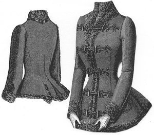 Guide to Victorian Civil War Costumes on a Budget 1889 Jacket Trimmed with Astrakhan Pattern $7.50 AT vintagedancer.com