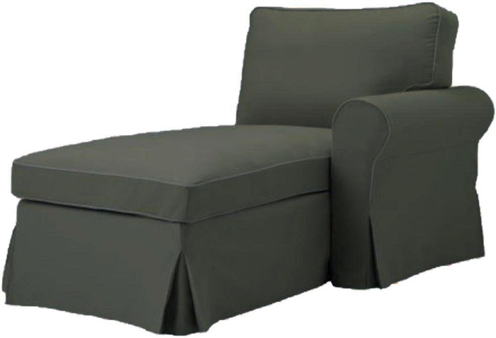 The Gray Ektorp Chaise with ARM Cover Replacement Is Custom Made For Ikea Ektorp Chaise Lounge with Arm Sofa Slipcover (ARM on Right)