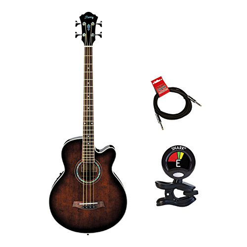 Ibanez Acoustic Electric Bass Guitar Package With Guitars Clip On Tuner and Guitars Cable (Electric Bass Guitar Bundle) in Dark Violin (Sunburst Violin)