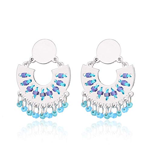 (Fashion Charms Women39;S Vintage Handmade Cotton Beads Round Dangle Earrings Party Accessories Gift (Silver Blue Color))