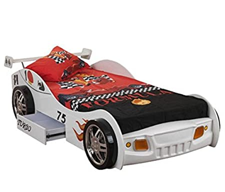All Home Fun Single Race Car Bed - with Handy Underbed Storage - White Finished with  sc 1 st  Amazon UK & All Home Fun Single Race Car Bed - with Handy Underbed Storage ...
