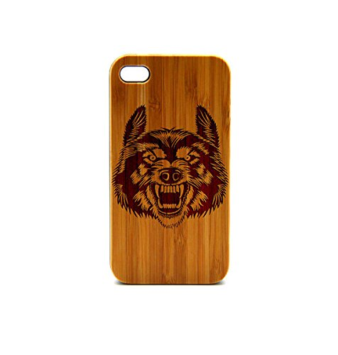 Krezy Case Real Wood iPhone 6 Case, Wolf Face iPhone 6 Case, eyes iPhone 6 Case, Wood iPhone Case,