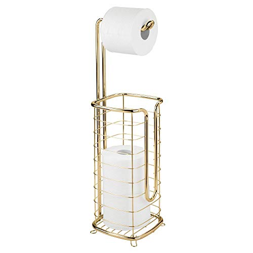 mDesign Free Standing Toilet Paper Holder Stand and Dispenser, with Storage for 3 Spare Rolls of Toilet Tissue While Dispensing 1 Roll - for Bathrooms/Powder Rooms - Holds Mega Rolls - Soft Brass - Finish Toilet Holder Paper