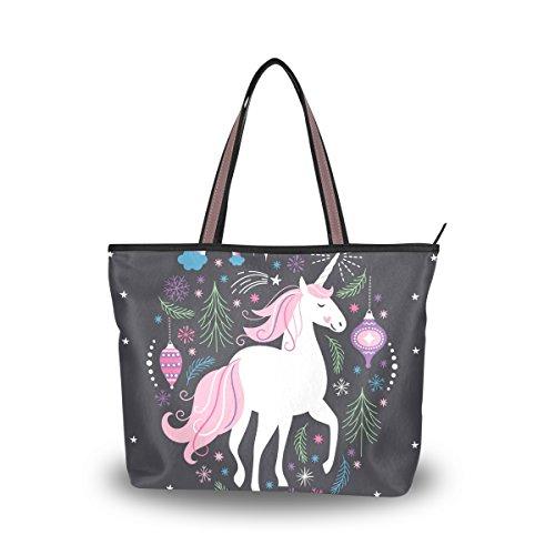 JSTEL Women Large Tote Top Handle Shoulder Bags Hristmas Unicorn Patern Ladies Handbag by JSTEL