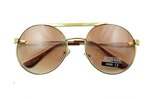 Mercury Laser - Brown Cool Laser Mercury Metal Sheeting Great Circle Frame Sunglasses
