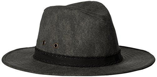 ale by Alessandra Women's Jaxson Adjustable Vintage Washed Canvas Hat With Suede Trim and UPF 50+, Charcoal/Black, Adjustable Head - Sunglasses Hilton Head