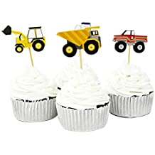 Winrase Pack of 24 Cute Construction Vehicles Kids Party Decoration Paper Cupcake Toppers (Construction Vehicles)