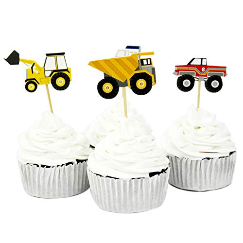 Price comparison product image Winrase Pack of 24 Cute Construction Vehicles Kids Party Decoration Paper Cupcake Toppers (Construction Vehicles)