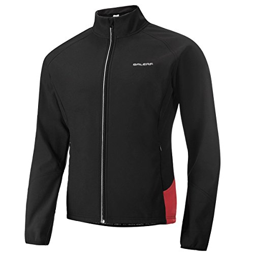 Baleaf Men's Windproof Thermal Softshell Cycling Winter Jacket Black Red Size L