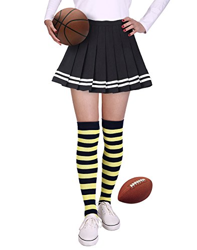 HDE Womens Striped Socks School Team University Colors OTK Long Knee High socks (Blue and Gold)
