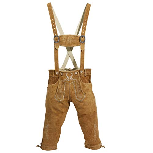 Traditional German Clothing (German Lederhosen - Traditional Clothing for Oktoberfest Genuine Leather - Excellent Stitching & Details - Comfortable Design, Long)