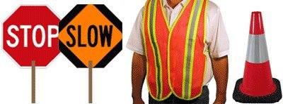 School Crossing Guard Kit - (2) STOP/SLOW Signs, (2) Reflective Vests, (3) Reflective Safety Cones