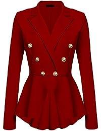 Women's Peplum Blazer One Button Crop Frill Ruffle Hem...