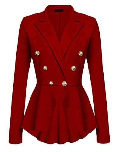Cekaso Women's Peplum Blazer One Button Crop Frill Ruffle Hem High Low Work Blazer, Red, USsize L1=Tagsize -
