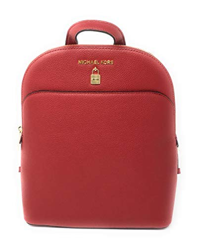 Michael Kors Adele Large Leather Backpack Bag with Lock Detail in Scarlet