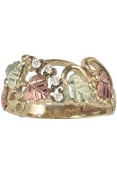 4-Stone Diamond Ring, 10k Yellow Gold, 12k Green and Rose Gold Black Hills Gold Motif