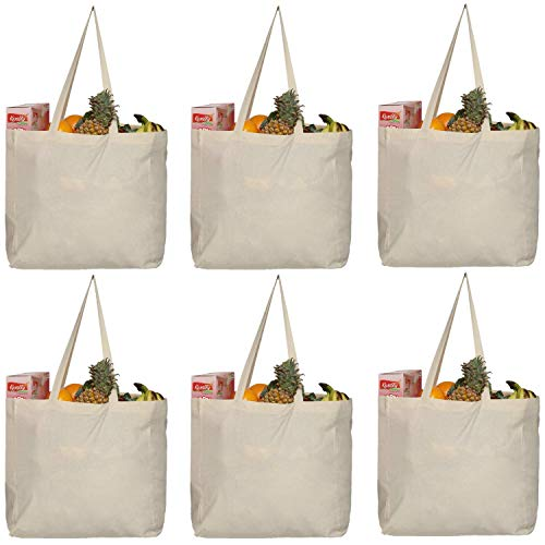 Greenmile 6 Pack Canvas Grocery Bags Reusable Cotton Cloth Shopping Tote | Capacity 40+ lbs