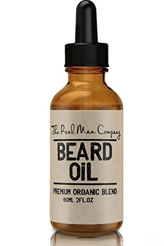 The Real Man Company Beard Oil and Conditioner for Men,Guaranteed Awesome,Manly and Kissable Beard or your Money Back!100% Organic Premium Beard Care Product,Large 2 Oz.Bottle, Natural Jojoba, Argan & Moringa Oil Blend,Fragrance Free,