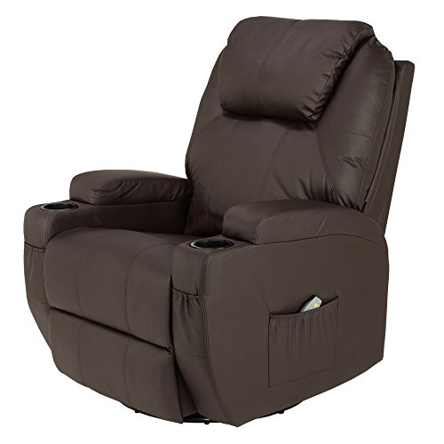Homegear Recliner Chair with 8 Point Electric Massage and Heat (Brown)