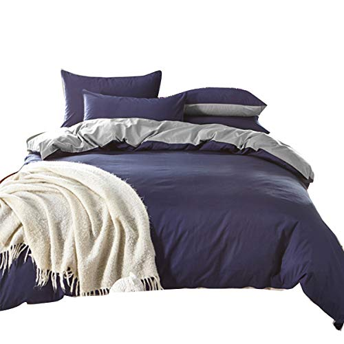 Uozzi Bedding Duvet Cover Set Queen Full, 3PC Reversible with Brushed Microfiber, Soft, Comfortable, Lightweight, Durable(Navy & Gray, Queen)