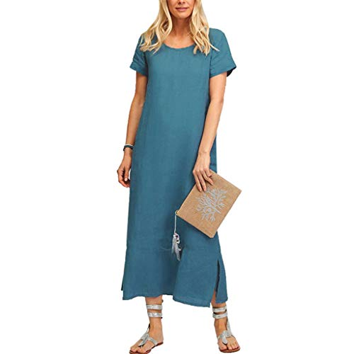 Women Cotton Linen Long Maxi Beach Dress Short Sleeve Crewneck  Pocket Casual Dress