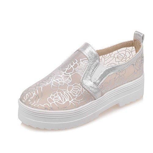 Allhqfashion Donna Materiali In Misto Solido Tacco Basso A Punta Chiusa Scarpe-scarpe Con Cinturino Argento