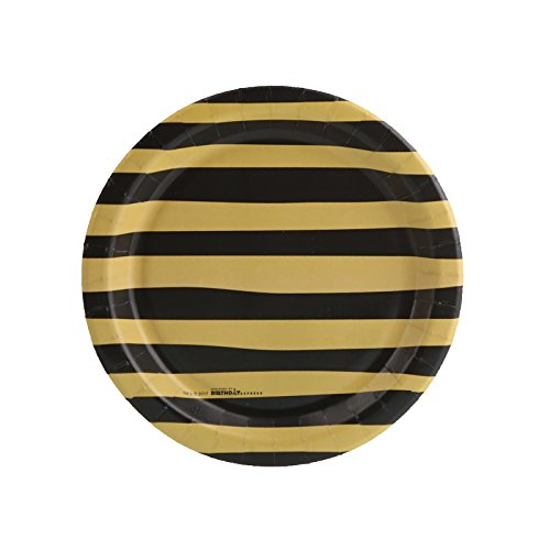 Stripes Invitation Kit (Joy to the World Gold & Black Stripe Dessert Plate (16))