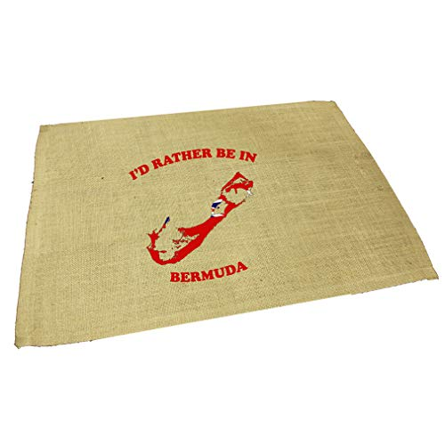 I'D Rather Be In Bermuda Jute Burlap Placemat Table Mat Natural One Size