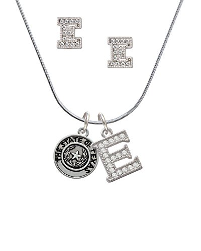 Texas Seal Jewelry Pendant (Silvertone Texas State Seal - E Crystal Initial Jewelry Set)