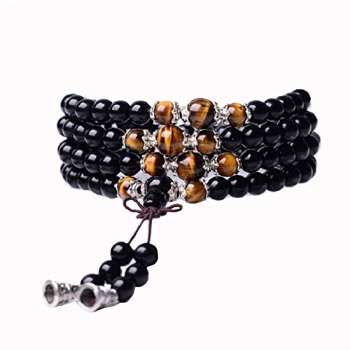 Tiger Eye Crystal Gemstone Bracelet Tibetan Buddhist Buddha Meditation 108 Obsidian Prayer Bead Bracelet