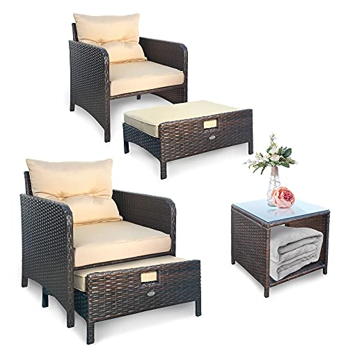 OUTDOOR DIAMOND 5 Pieces Patio Furniture Sets, Outdoor Wicker Sofa, Free Conversation with Ottomans & Table, Beige