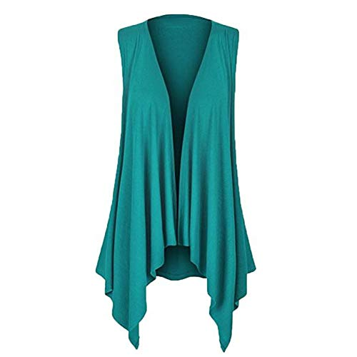 (TANLANG Women's Sleeveless Irregular Cardigan T-Shirt Open Front Boyfriend Chunky Jersey Lightweight Draped Layering Vest)