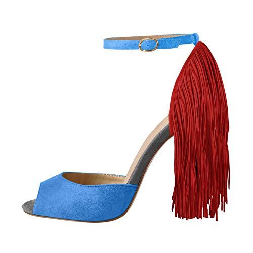 Onlymaker Women's Fringe Decoration Peep Toe High Heel Sandal Ankle Buckle Big Size for Party Blue 10 M US ()