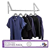 Stock Your Home Retractable Closet Rod and Clothes Rack - Wall Mounted Folding Clothes Hanger & Drying Rack for Laundry Room Closet Storage & Organization, Aluminum, Easy Installation (Silver)