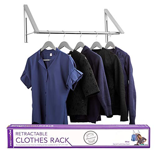 Stock Your Home Retractable Closet Rod and Clothes Rack - Wall Mounted Folding Clothes Hanger Drying Rack for Laundry Room Closet Storage Organization, Aluminum, Easy Installation (Silver) (Wall Mount Clothes Drying Rack)
