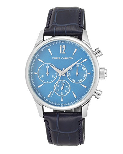 Vince Camuto Men's VC/1078LBSV The Chairman Multi-Function Dial Navy Blue Croco-Grain Leather Strap Watch (Dial Mens Leather Blue)