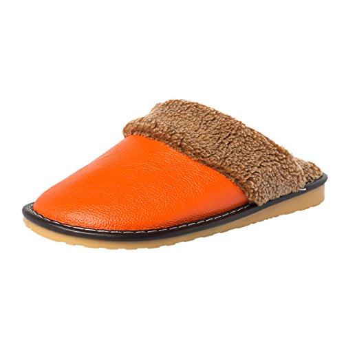 Haisum 8812-w - Zapatillas de estar por casa de piel vacuna para hombre naranja