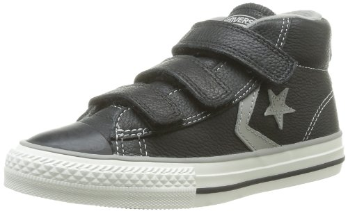 Converse Star Player 3V Leather Mid - Zapatillas de Deporte de cuero Infantil Schwarz