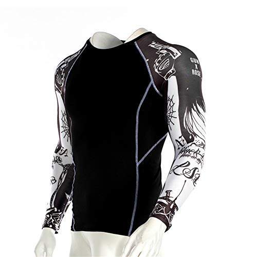 Men's Sports Compression Apparel Base Layers Workout Long Sleeve Shirt Full Print Arm Tattoo Running Motion Training Sport Fitness