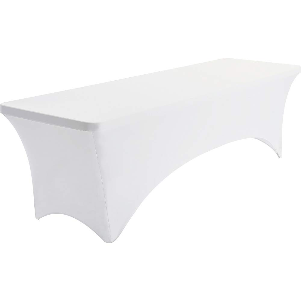 Iceberg 16533 Spandex Fabric Table Cover, 8', White, 29'' Height, 30'' Width, 96'' Length,