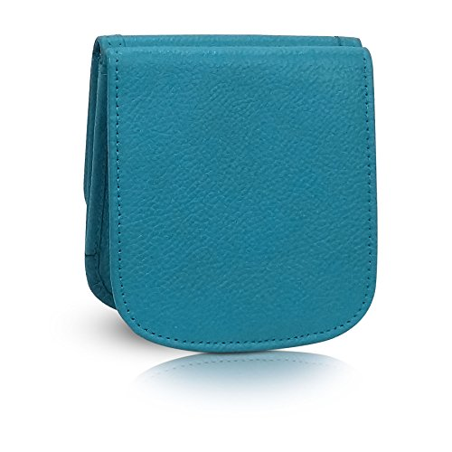 Taxi Wallet Women's TURQUOISE Italian LEATHER Small Compact Card Coin Wallet