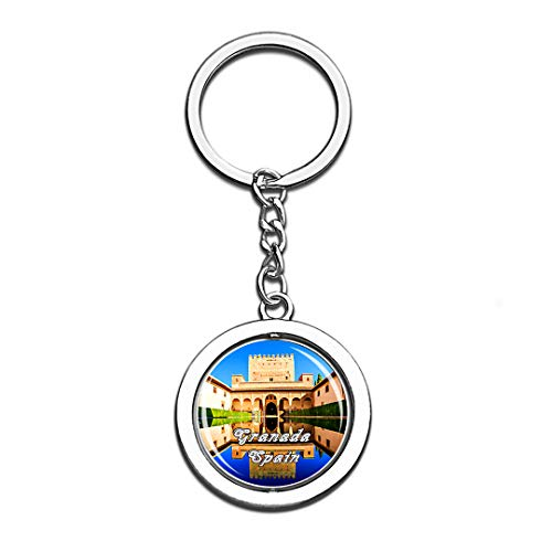 - Alhambra Palace Granada Spain 3D Crystal Creative Keychain Spinning Round Stainless Steel Key Chain Ring Travel City Souvenir Collection