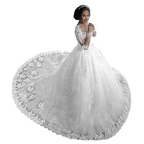 Chady Lace Princess Wedding Dress Ball Gowns 2018 Sexy Sheer Long Sleeves Boat Neck Sequins Beaded Wedding Bridal Gowns White