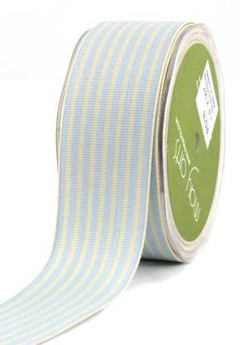 May Arts 1-1/2-Inch Wide Ribbon, Light Blue and Ivory Grosgrain Stripe ()