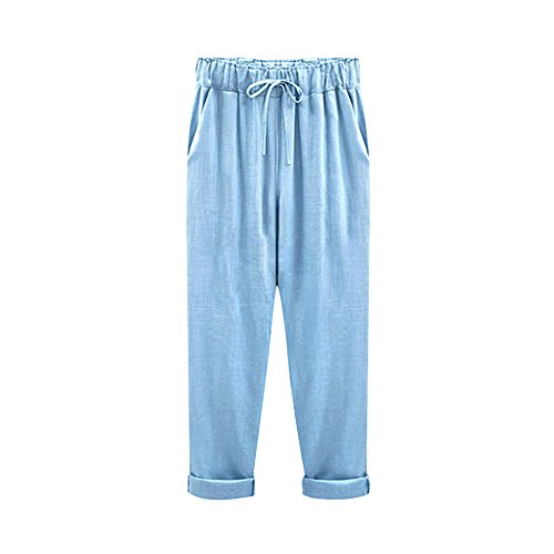Gooket Women's Elastic Waist Casual Relaxed Fit Capris Pants Drawstring Cotton Linen Cropped Pants Light Blue 9 Tag 6XL-US 16 (Embroidered Pants Drawstring)