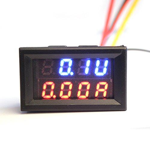 Panel Mount Voltmeter (LtrottedJ Dual LED DC Digital Ammeter Voltmeter Panel Amp Volt Meter 100A 100V BU)