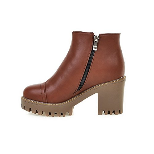 Round High PU Heels Closed Boots Allhqfashion Brown Women's Solid Zipper Toe nqwZgYB6