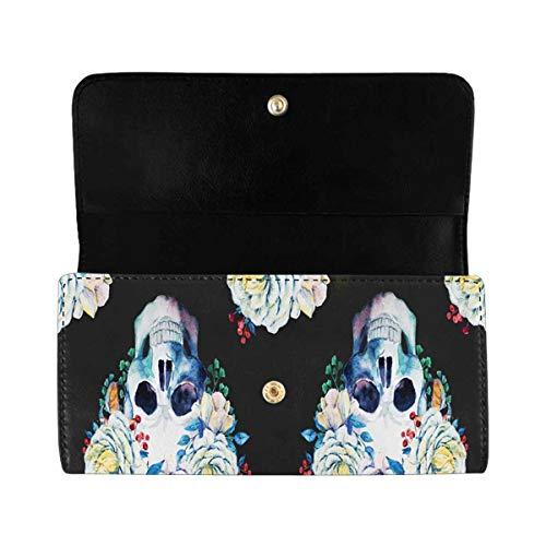 InterestPrint Women's Trifold Clutch Card Holder Pink Purple Skulls Purses Wallet Handbags